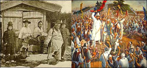 압송당하는 전봉준 장군(좌)과 백산 봉기 기록화(우) 압송당하는 전봉준 장군(좌)과 백산 봉기 기록화(우)